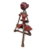 West African Vintage Hand Cast Bronze Female Figurine from Burkina Faso Celebrating Development and Transformation in Africa through Female Education L12cm x W15cm X H30cm