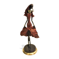 West African Vintage Hand Cast Bronze Female Dancer Figurine from Burkina Faso L15cm x W15cm X H40cm