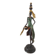 Vintage Bronze Statue of Woman Fetching Pots of Water | House Of Avana