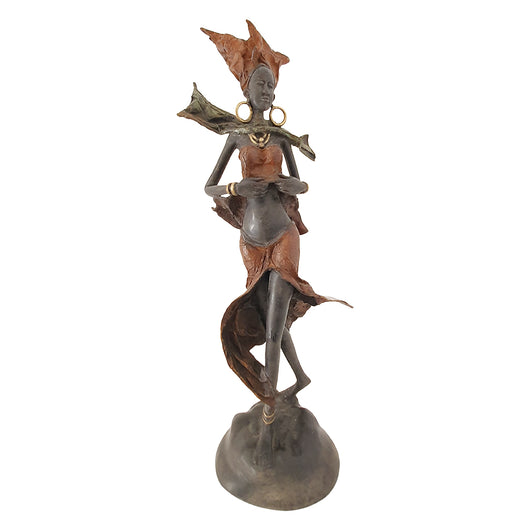 Vintage Bronze Statue of a Rust-Clad African Woman |  House of Avana