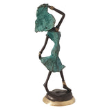African Dancer in Turquoise| Hand-Cast Bronze Statue | House of Avana