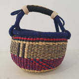 Round Bolga Basket from Ghana in Red, Blue and Black | House Of Avana