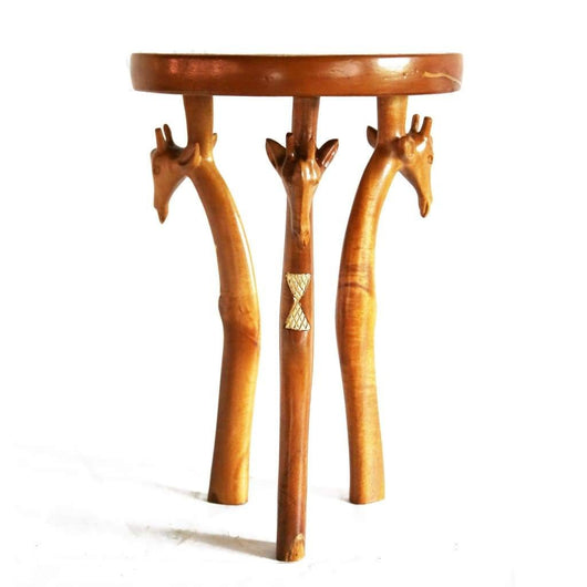 African Hand Carved Wooden 3-legged Giraffe-Head End Table D30cm x H43cm - African Furniture for Living Room - House Of Avana