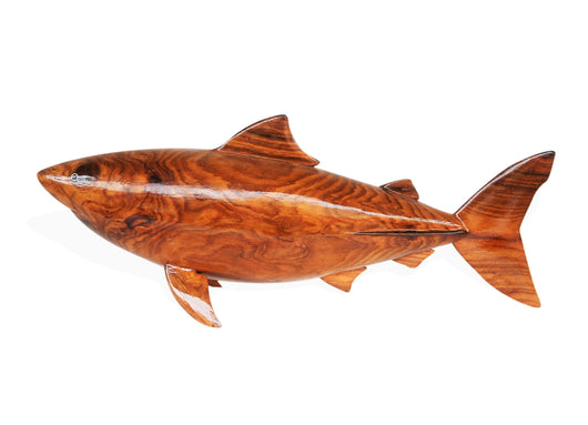 West African Teak Wood Hand Carved Bull Shark Centerpiece Table Decor Sculpture L58cm x W15cm X H25cm - Table Decor Centerpiece