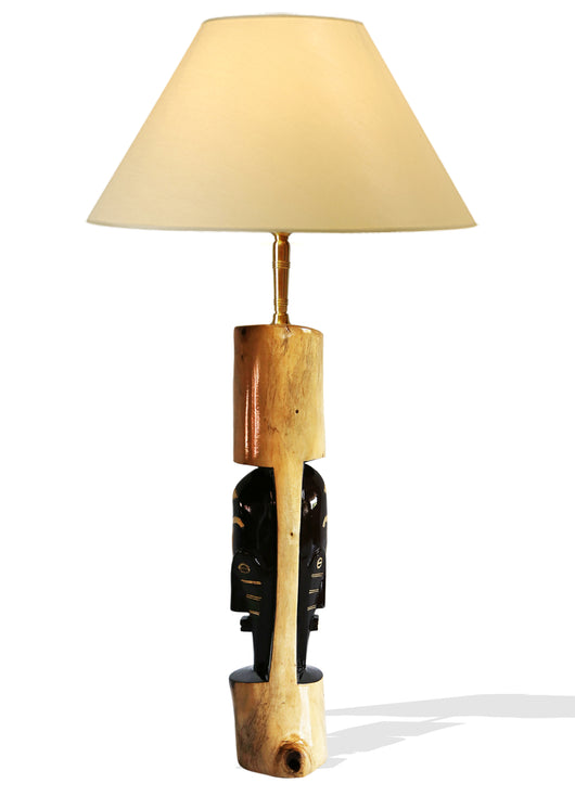 Handcrafted Floor Lamp with Carved African Mask | House Of Avana