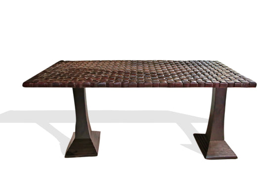 West African Furniture Hand Carved Red Acajou Hard Wood Weave Dining Table L200cm x W96cm x H86cm - African Furniture for Dining Room