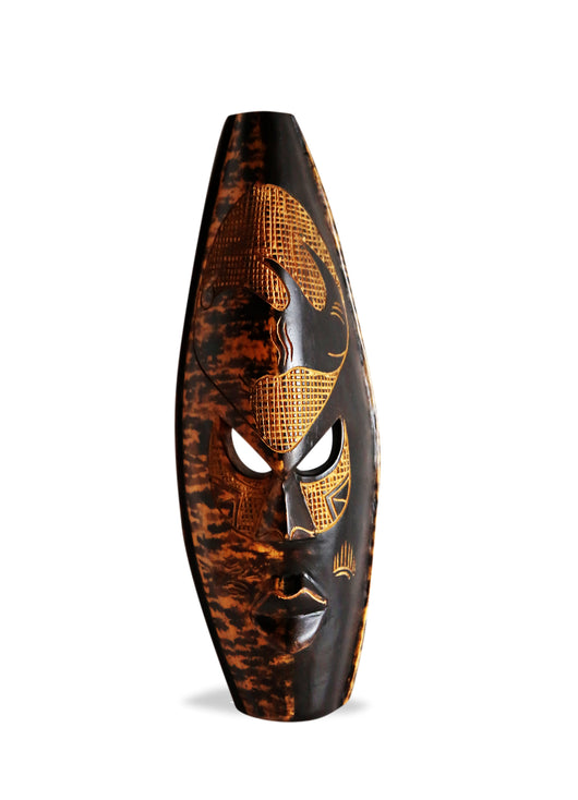 West African Wall Art Hand Carved Neem Wood Dark Large Spotted Rhinoceros Mask from Ghana L40cm x W41cm x H08cm - Famous African Mask for Wall Decor