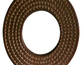 West African Wall Décor Artisan Crafted Small Round Sun Mirror Frame with Concentric Circles D40cm