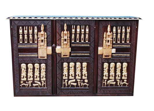 Hand Carved African Furniture Wooden Dogon Mahogany with Gold Highlights Accent Buffet for Dining Hall from Mali L150cmW40cmH100cm