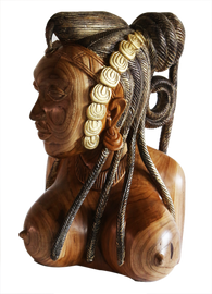 Hand Carved Teak Wood Bountiful Bust of an African Woman with an Exotic Hair Braiding Decorative Centerpiece Table Top Decor D25cm x H50cm