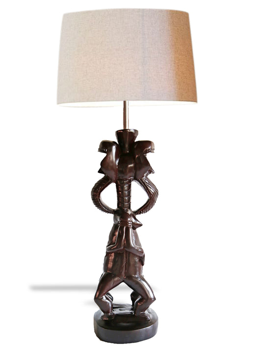 West African Double-Sided Kran Ivorian Figurine Lamp | House Of Avana