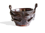 Vintage Revived West African Baule Bowl with Traditional Baule Statues