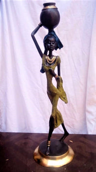 West African Lost Wax Hand Cast Vintage Bronze Figurine from Burkina Faso of an African Village Woman in Green Dress and Blue Headdress