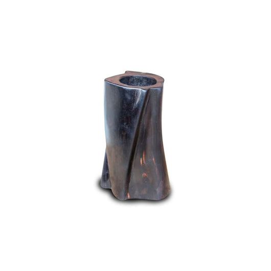 A Twisted Tale - African Ebony Wood Carved Candle Holder D06cm x H12cm - - House of Avana