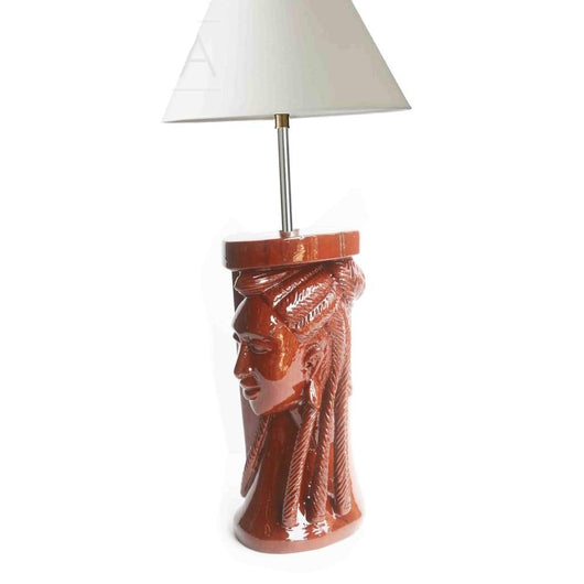 An Angelic Profile Hand carved West African Home Décor Table Lamp L11cm x W9cm x H57cm