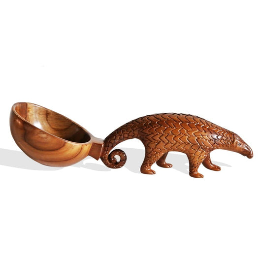 West African Hand Carved Teak Wood Anteater Centerpiece Table top Decor Sculpture L37cm x W11cm x H10cm - Centerpiece for Table Decor