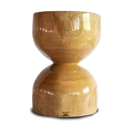 West African Hand Carved Wooden Bell Side Table Natural Finish D28cm x H45cm - African Furniture for Living Room - House Of Avana