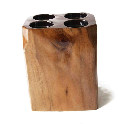 4 Hole Rustic African Handcarved Tabletop Wooden Candle Holder L22cm x W16cm x H30cm - House Of Avana