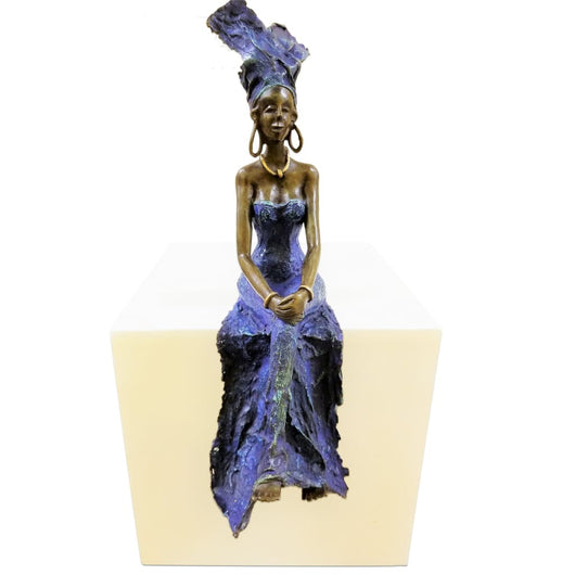 West African Burkina Faso Blue Bronze Female Figurine Vintage Centerpiece for Table Top Decor L40cm x W15cm X H10cm