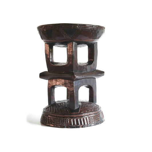 African Hand Carved Traditional Cylindrical Tabouret/Stool/End Table D35cmH50cm - Furniture for Living Room