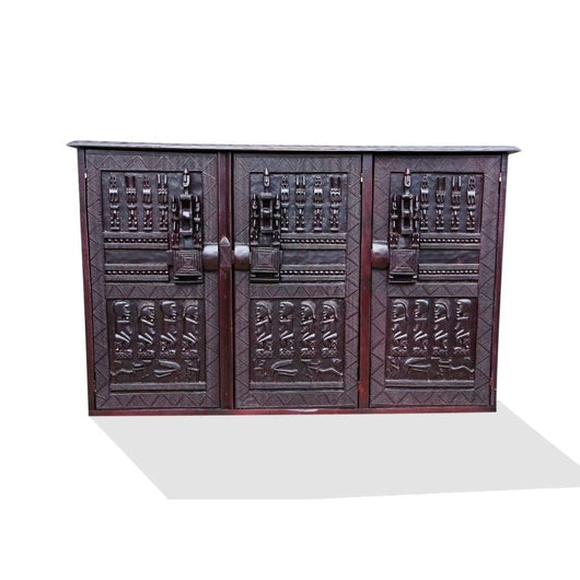 Hand Carved African Furniture Wooden Dogon Accent Buffet for Dining Hall from Mali L150cmW40cmH100cm
