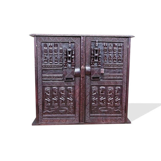 Hand Carved African Furniture Wooden Dogon Mahogany Accent Buffet for Dining Hall from Mali L100cmW40cmH100cm