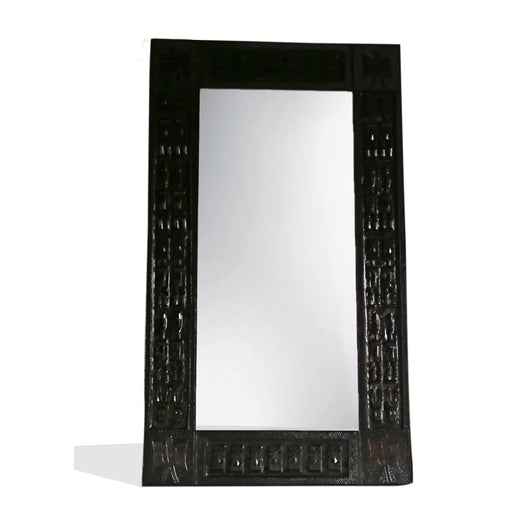 West African Wall Décor Hand Carved Malian Dogon Wall Art Mirror Frame Medium Dark L100cmW50cm