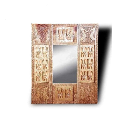 West African Wall Décor Hand Carved Malian Dogon Wall Art Mirror Frame Natural L60cmW50cm