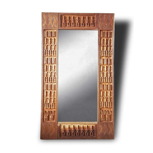 West African Wall Décor Hand Carved Malian Dogon Wall Art Mirror Frame Natural L120cm x W70cm - Wall Décor African Mirror Frame - House Of Avana