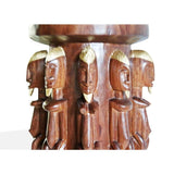 Hand Carved West African Furniture Dogon Telem Statues Side Table from Mali D32cmH46cm