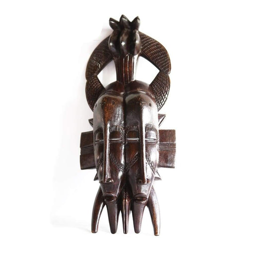 West African Vintage Tribal Double Faced Ivory Coast Senufo  Mask with 3 Kalao L20cm x W09cm x H43cm - Wall Decor