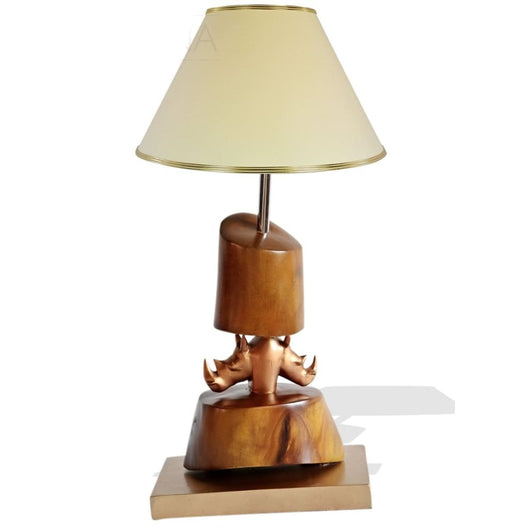 Double Rhino Head Table Lamp - Lamps Lamps