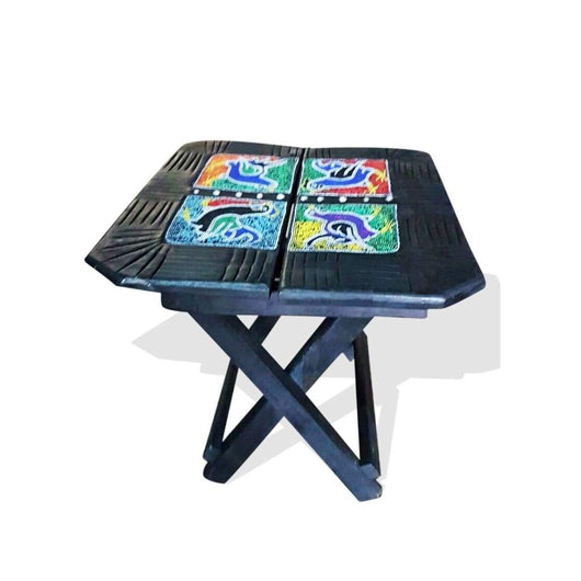 Ghanaian Square Folding Portable Table with Beaded Fauna Decor L40cmH50cm- African Furniture for Living Room