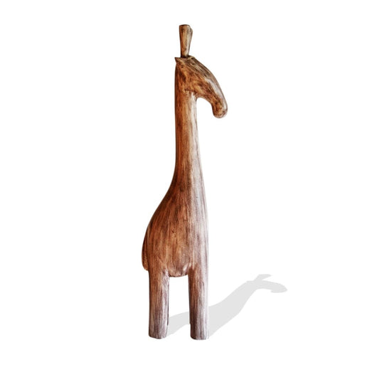 Hand Carved Teak Wood Contemporary Decor African Floor Sculpture Stylized Cream-Brown Distress Baby Giraffe L19cm x W11cm x H74cm