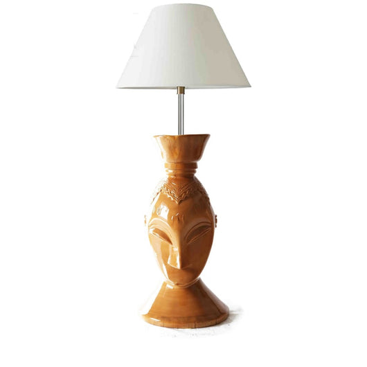 West African Teakwood Home Décor Hand Carved Vintage Gouro Mask Table Lamp L27cm x W15cm x H67cm