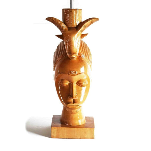West African Vintage Home Décor Teakwood Root Hand Carved Gouro Mask with Ram on head Statue Table Lamp L27cm x W15cm x H67cm