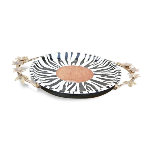 Hand-Painted Zebra Patterned Tray With Bronze Handles - Kitchen & Dining Kitchen & Dining Serveware