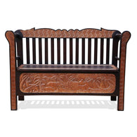 African Wooden Furniture Jungle Relics Seat Double-Hued L124cm x W45cm x H80cm - African Furniture for Living Room