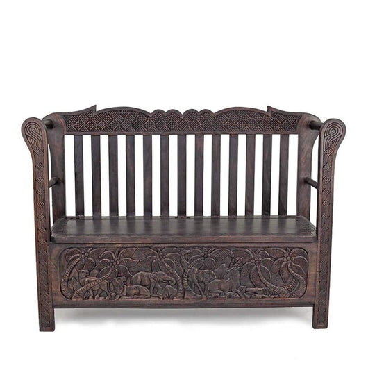 African Wooden Furniture Jungle Relics Seat L124cm x W45cm x H80cm - African Furniture for Living Room
