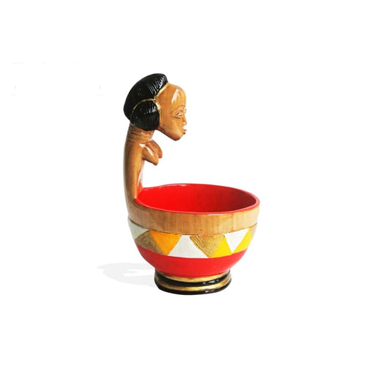 West African Lady Baule Bowl Hand Carved Hand Painted Vintage Revived Centerpiece for Table Top Decor L18cm x W16cm X H28cm