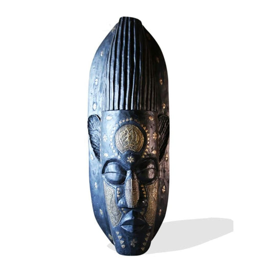 West African Wall Art Hand Carved Neem Wood Extra Large Mask From Ghana With Bronze Inlay L130cm X W50cm X H25cm Famous African Mask For Wall Decor House Of Avana