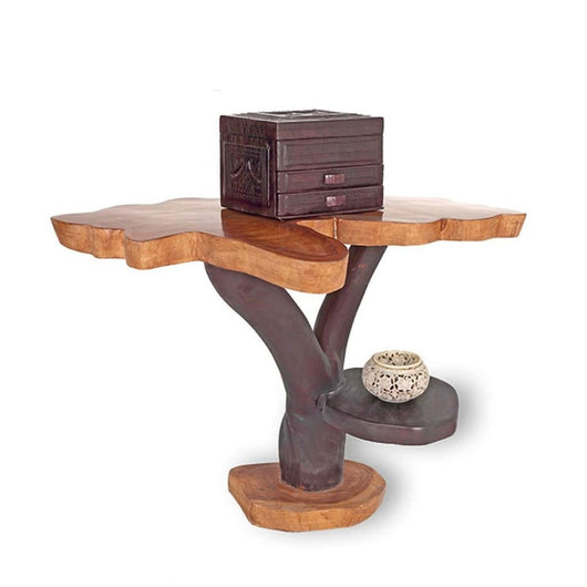 West African Handmade Furniture Teak and Iroko Log Living Room Table  L90cm X W85cm X H65cm