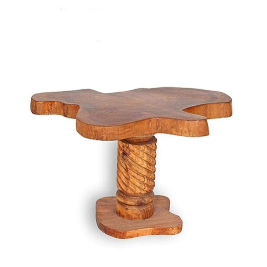 West African Handmade Furniture Teak Log Living Room Accent Table L75cm X W55cm X H45cm