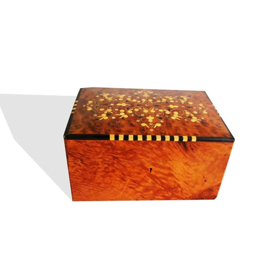 West African Tuia Walnut Wood Hand Carved Moroccan Inlay Box Table Decor Centerpiece L29cm x W21cm X H16cm - Table Decor Centerpiece