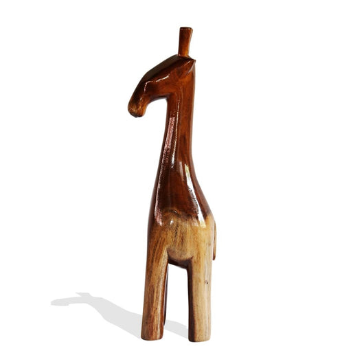 Hand Carved Teak Wood Contemporary Decor African Floor Sculpture Stylized Natural Teak Baby Giraffe L13cm x W09cm x H57cm