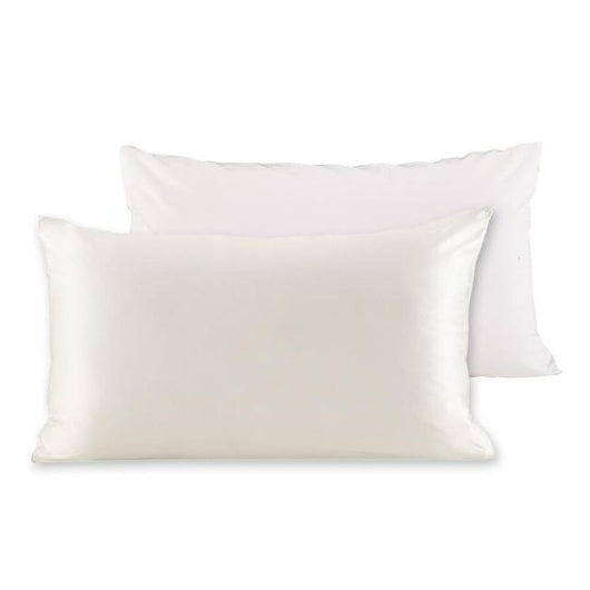 22 momme 100% Natural Mulberry Silk Pillowcase with Cotton Underside and Concealed Zipper Closure