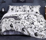 Premium Luxurious Pure 100% 19 Momme Mulberry Silk Seamless Duvet Cover with Marble Print