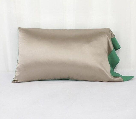 19 Momme Mulberry Silk Pillowcase with Contrast Color Tencel Underside Envelope Button Closure