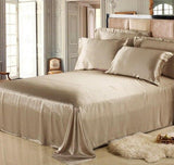 Luxury 19 Momme Pure Mulberry Silk Bedding Set (1 Seamless Fitted Bed Sheet + 2 Terse Pillowcases)