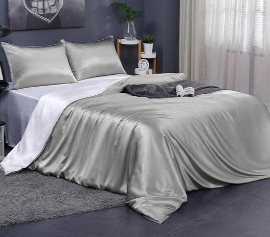 Double Sided 100% Natural 19 Momme Mulberry Silk Luxury Duvet Cover in Contrast Colors